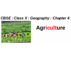 CBSE : Class X : Geography : Chapter 4 : Agriculture : Question And Answer