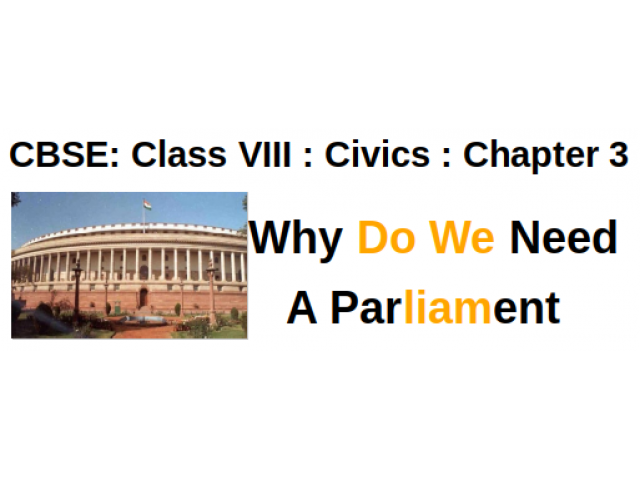 CBSE : Class VIII : Civics : Chapter 3 : Why Do We Need A Parliament : Questions and Answers